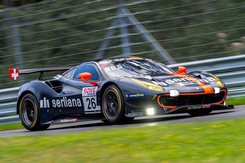 Björn Grossmann und Luca Ludwig im Ferrari 488 GT3. (Foto: Daniel Schäfer / DAS Sportfoto)